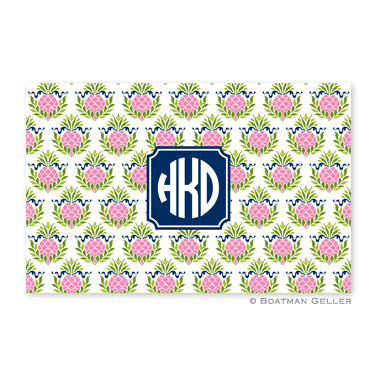 Pineapple Repeat Pink Personalized Placemat