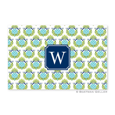 Pineapple Repeat Teal Personalized Placemat