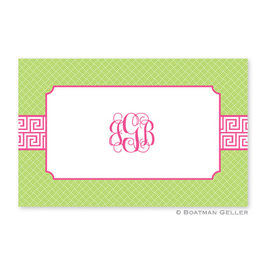 Greek Key Band Pink Personalized Placemat