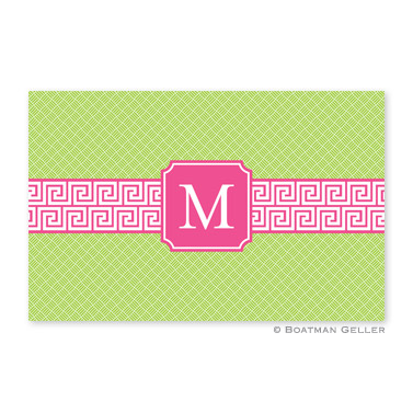 Greek Key Band Pink Disposable Placemats