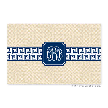 Greek Key Band Navy Personalized Placemat