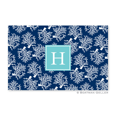 Coral Repeat Navy Personalized Placemat