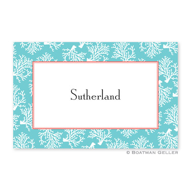 Coral Repeat Teal Personalized Placemat
