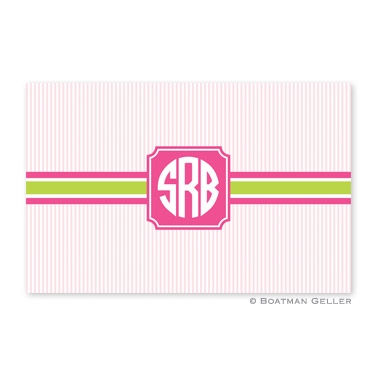 Seersucker Band Pink & Green Personalized Placemat