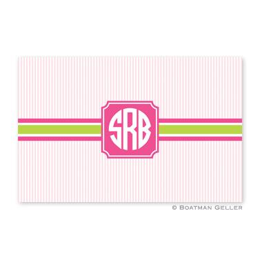 Seersucker Band Pink & Green Disposable Placemats