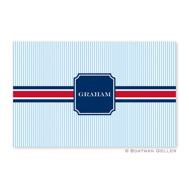 Seersucker Band Red & Navy Personalized Placemat