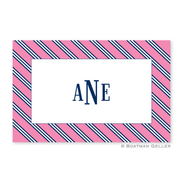 Repp Tie Pink & Navy Personalized Placemat