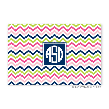 Chevron Pink, Navy & Lime Personalized Placemat