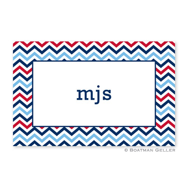 Chevron Blue & Red Personalized Placemat