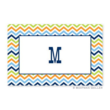 Chevron Blue, Orange & Lime Personalized Placemat