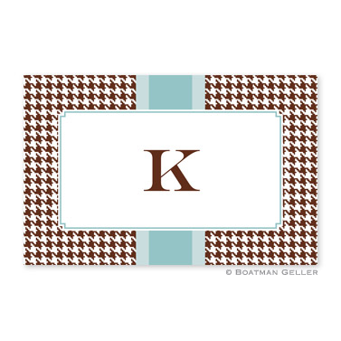 Alex Houndstooth Chocolate Personalized Placemat