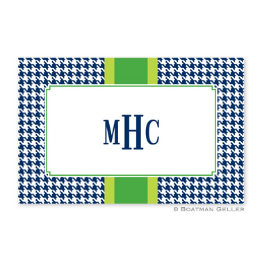 Alex Houndstooth Navy Personalized Placemat