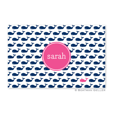Whale Repeat Navy Personalized Placemat