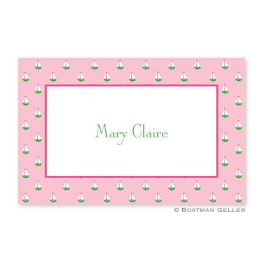 Little Sailboat Pink Personalized Placemat