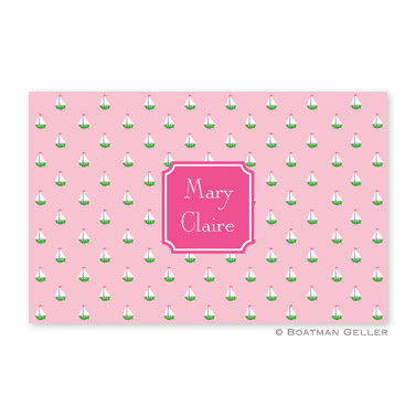 Little Sailboat Pink Disposable Placemats