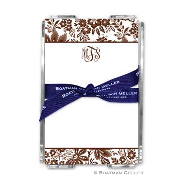 Classic Floral Brown Note Sheets in Acrylic Holder