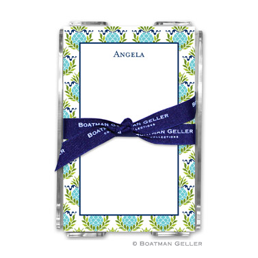 Pineapple Repeat Teal Note Sheets in Acrylic Holder