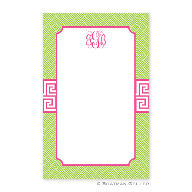 Greek Key Band Pink Notepad
