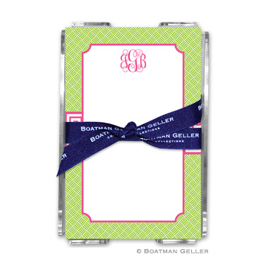 Greek Key Band Pink Note Sheets in Acrylic Holder