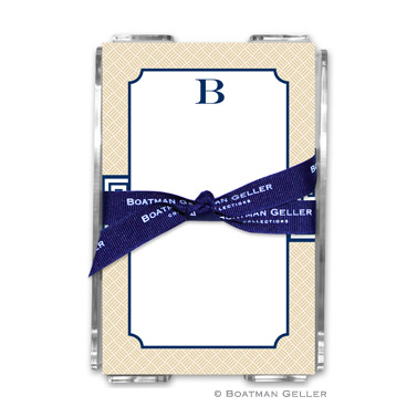 Greek Key Band Navy Note Sheets in Acrylic Holder
