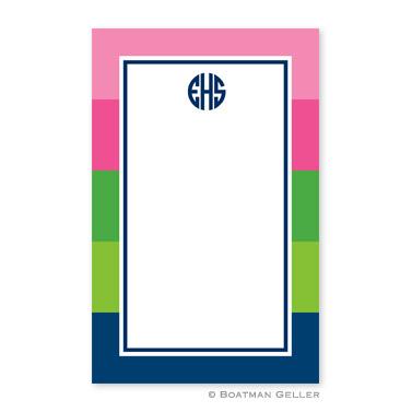 Bold Stripe Pink, Green & Navy Notepad