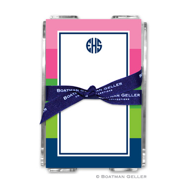 Bold Stripe Pink, Green & Navy Note Sheets in Acrylic Holder