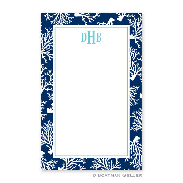 Coral Repeat Navy Notepad