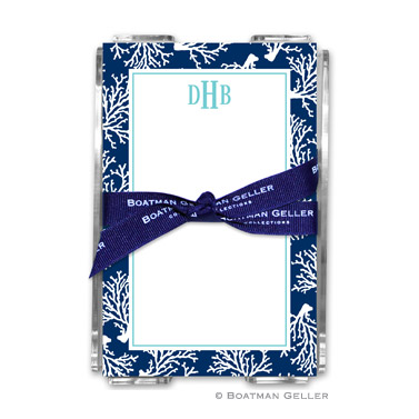 Coral Repeat Navy Note Sheets in Acrylic Holder