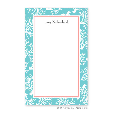 Coral Repeat Teal Notepad