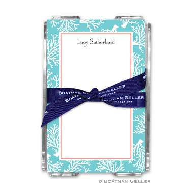 Coral Repeat Teal Note Sheets in Acrylic Holder