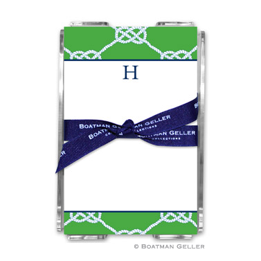 Nautical Knot Kelly Note Sheets in Acrylic Holder