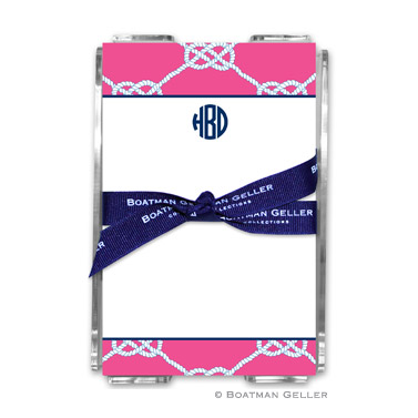 Nautical Knot Raspberry Note Sheets in Acrylic Holder