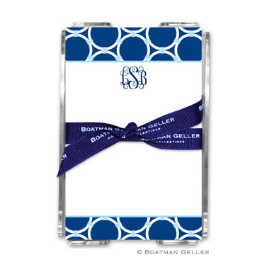Bamboo Rings Navy Note Sheets in Acrylic Holder