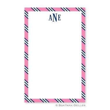 Repp Tie Pink & Navy Notepad