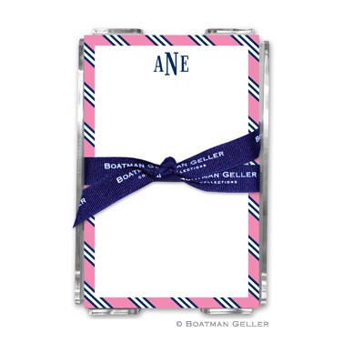 Repp Tie Pink & Navy Note Sheets in Acrylic Holder