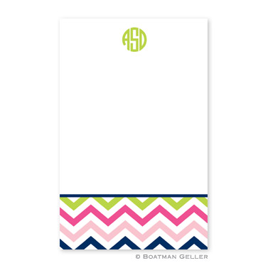 Chevron Pink, Navy & Lime Notepad