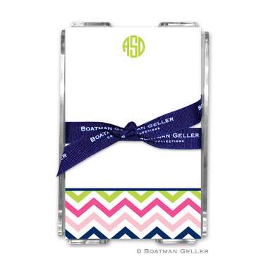 Chevron Pink, Navy & Lime Note Sheets in Acrylic Holder