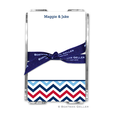Chevron Blue & Red Note Sheets in Acrylic Holder