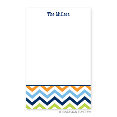 Chevron Blue, Orange & Lime Notepad