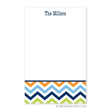Chevron Blue, Orange & Lime Notepad