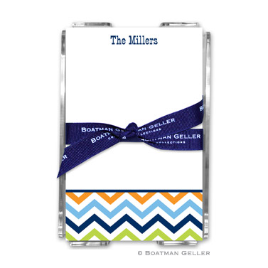 Chevron Blue, Orange & Lime Note Sheets in Acrylic Holder