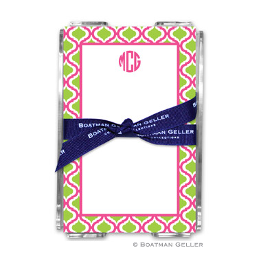 Kate Raspberry & Lime Note Sheets in Acrylic Holder