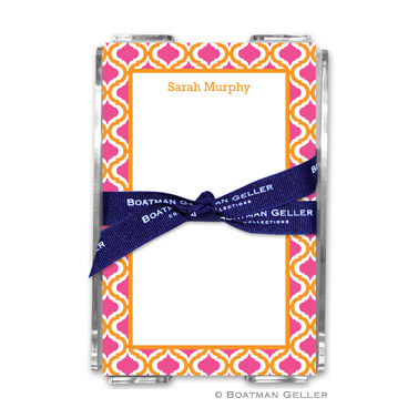 Kate Tangerine & Raspberry Note Sheets in Acrylic Holder