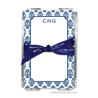 Beti Navy Note Sheets in Acrylic Holder