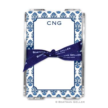 Beti Navy Note Sheets in Acrylic Holder
