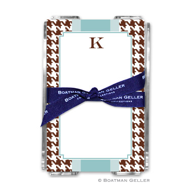 Alex Houndstooth Chocolate Note Sheets in Acrylic Holder