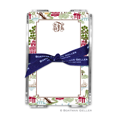 Chinoiserie Autumn Note Sheets in Acrylic Holder