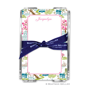 Chinoiserie Spring Note Sheets in Acrylic Holder