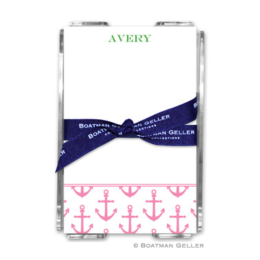 Anchors Pink Note Sheets in Acrylic Holder