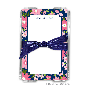 Caroline Floral Pink Note Sheets in Acrylic Holder